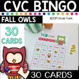 Thanksgiving Activities - Fall CVC Words BINGO - Owls - 30 Cards