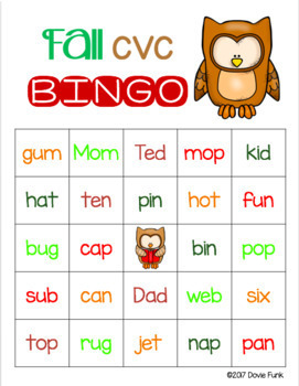 Fall CVC Words BINGO - Owls - 30 Cards