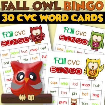 Fall CVC Words BINGO - Owls - 30 Cards