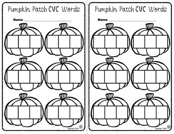 Fall CVC Words Center Activities