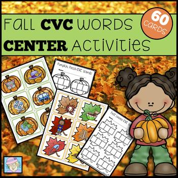 CVC Worksheets Fall Centers Kindergarten and 1st Grade