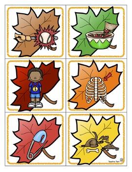 Fall Centers CVC Words Kindergarten 1st Grade