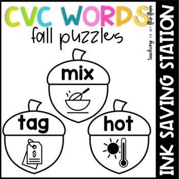 Fall CVC Words Literacy Station