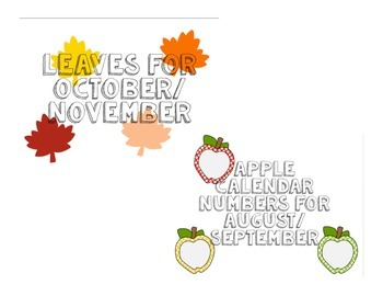 Fall Calendar Number Cards