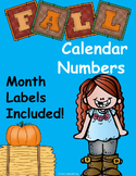 Fall Calendar Numbers (August, September, October, November)