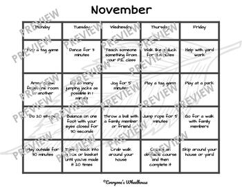 Physical Activity Calendars of P.E. Fun--Fall
