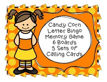 Fall Candy Corn Bingo & Memory Game 6 Boards & Calling Cards Letter Recognition
