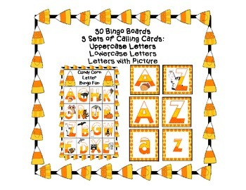 Fall Candy Corn Letter Bingo Harvest Halloween Classroom Party Game