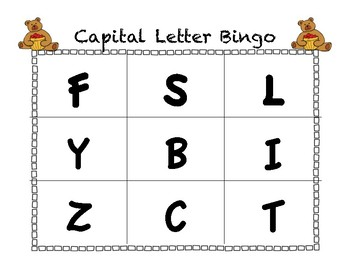 Fall Capital Letter Bingo