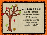 Fall Card Game Pack (letters, numbers, CVC, nonsense, color words)