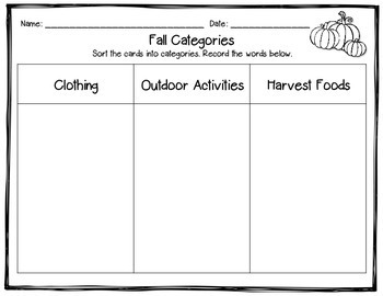 Fall Categories: Word Sort