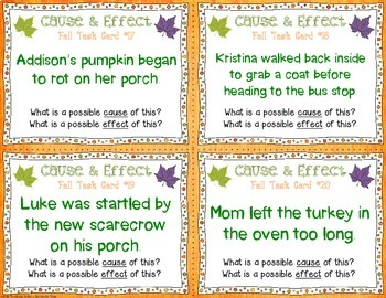 Fall Cause and Effect Task Cards {Pictures & Text}