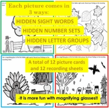 Hidden Letters, Sight Words and Number Sets for Fall!
