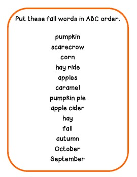 Fall Centers: ABC Order, Making Words, and Finish the Story