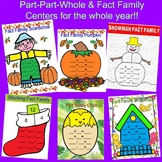Fall & Christmas Part Part Whole and Fact Family Centers and Activities