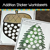 Fall Circle Sticker Addition Worksheets