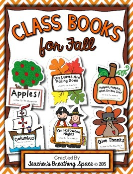 Fall Class Books --- Class Books for September, October & November
