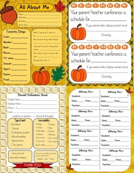 Fall Classroom Form Editable and Ready to Print