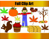 Autumn Fall Clip Art Scarecrow, Pumpkin, Squirrel, Leaves, Hay Bails