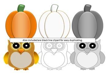 Fall Clip Art Bundle Owl Ghost Candy Corn Pumpkin