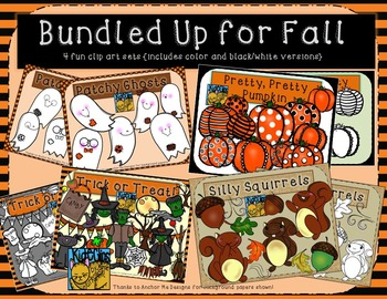Fall Clip Art Bundle Pumpkins, Halloween, Squirrels, Ghost