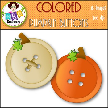 Fall Clip Art - Colored Pumpkin Buttons