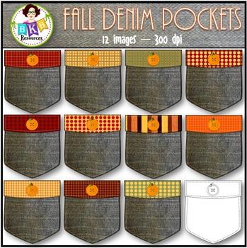 Fall Clip Art - Fall Denim Pockets