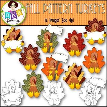 Turkey Clip Art ● Fall Clip Art● Commercial Use