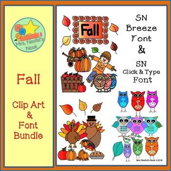 Fall Clip Art and Font Bundle