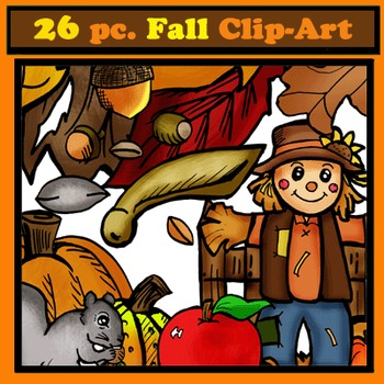 Fall Clip-Art Objects: 26 pc. BW/Color!