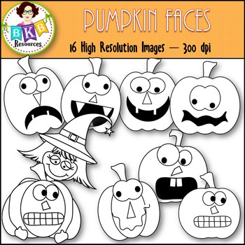 Pumpkin Faces ● Fall Clip Art ● Commercial Use