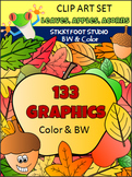 Fall Leaves, Acorns, and Apples Clip Art (134 graphics)