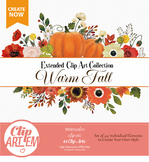 Fall Clip Art for Floral Autumn Decor, Thanksgiving day, H