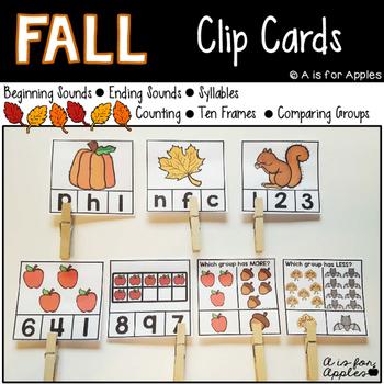 Fall Clip Cards for Reading & Math