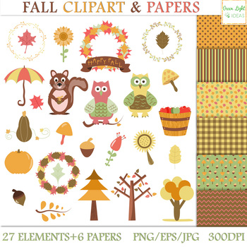 Fall Clipart / Autumn Clipart / Fall Clipart Graphics and Backgrounds Set