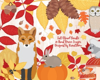 Fall Clipart - Autumn Illustrations - Fall Leaves, Woodland Animals, Pinecones