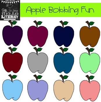 "Fall Apple Clipart ""Apple Bobbing Fun"" (for personal and commercial use)"