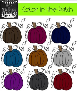 """Fall Pumpkin Clipart """"Color in the Patch"""" (for personal and commercial use)"""