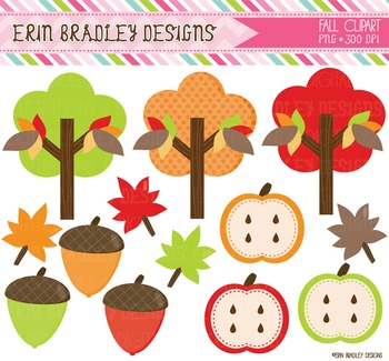 Fall Clipart - Digital Graphics Trees Acorns Leaves Apples