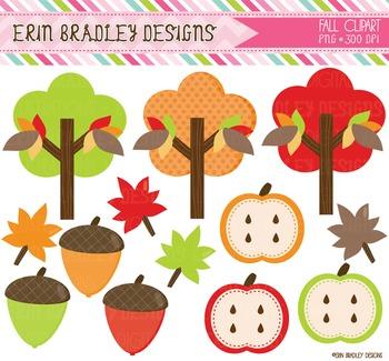 Fall Clipart - Digital Graphics Trees Acorns Leaves Apples
