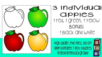 Fall Clipart: Green, Yellow and Red Apple