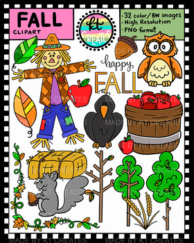 Fall Clipart Set - 32 Full Color & BW Illustrations {KT Creates}