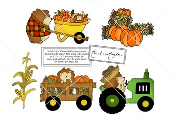 Fall Clipart and Digital Stamp set - Hedgehog - Pumpkin - Tinsel and Taylor