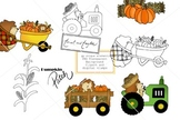 Fall Clipart and Digital Stamp set - Hedgehog - Pumpkin -