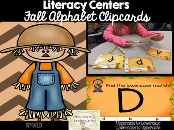 Fall Clip Cards Literacy Center: Lowercase to Uppercase Letter Match