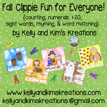 Fall Clippie Fun for Everyone! {counting, sight words, rhyming, word matching}
