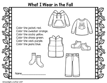 Fall Clothes Emergent Reader and Mini Literacy Set
