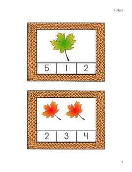 Fall Clothespin Counting