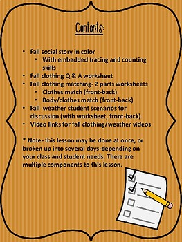 Fall Clothing Packet--For Special Education and Autism