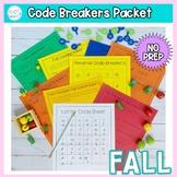 Code Breakers Worksheets: Fall theme, NO PREP